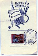 RAQUEL FORNER EMILIO CENTURION PLASTICA ARGENTINA 1975 TARJETA / CARD OBLITERATED - NTVG. - Otros