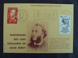 """FRANCE - Marcophilie - Cp """" Centenaire Des Lois Scolaires Jules Ferry"""" - VIROFLAY 1981  - Net   1 - Marcophilie (Lettres)"""
