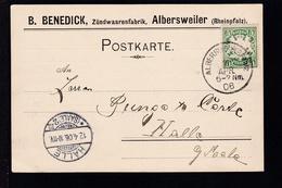 Wappen 5 Pfg. Auf Firmenpostkarte (Zündwarenfabrik, Albersweiler)  - Bavière