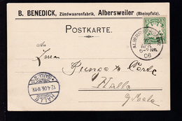 Wappen 5 Pfg. Auf Firmenpostkarte (Zündwarenfabrik, Albersweiler)  - Bayern