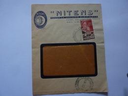 """Busta Pubblicitaria Viaggiata """"NITENS - FABBRICA LAMPADE ELETTRICHE, NOVI LIGURE"""" 1955 - 6. 1946-.. Republic"""