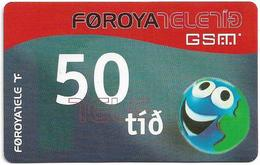 Faroe - Smiling Face, 50Kr. GSM Refill, Exp. 01.04.2006, Used - Faroe Islands