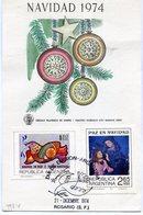 NAVIDAD 1974 PAZ EN NAVIDAD TARJETA CARD DIA DE EMISION 1974 ROSARIO - NTVG. - Kerstmis