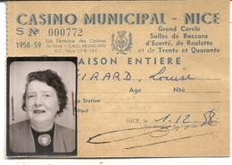 CASINO MUNICIPAL DE NICE . SAISON 1958/59 .FISCAUX 4X 660F - Tickets D'entrée