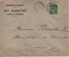 LETTRE   AVEC PUB POUR  NOUVELLE GALERIES  Mme NAINTRE  LONS LE SAUNIER  CACHET  1940 - France