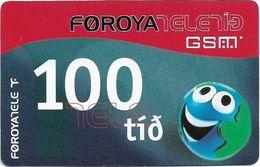 Faroe - Smiling Face (Backside Type #1), 100Kr. GSM Refill, Exp. 01.12.2004, Used - Faroe Islands