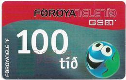 Faroe - Smiling Face (Backside Type #2), 100Kr. GSM Refill, Exp. 01.12.2004, Used - Faroe Islands