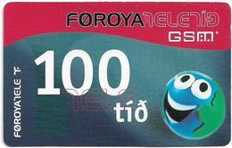 Faroe - Smiling Face, 100Kr. GSM Refill, Exp. 01.10.2004, Used - Faroe Islands