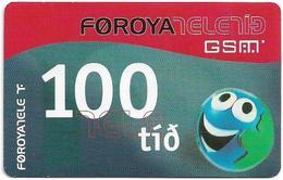 Faroe - Smiling Face, 100Kr. GSM Refill, Exp. 05.06.2004, Used - Faroe Islands