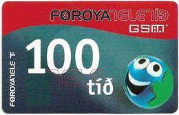 Faroe - Smiling Face, 100Kr. GSM Refill, Exp. 01.02.2005, Used - Faroe Islands