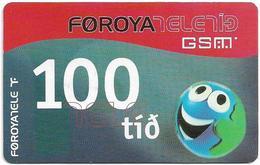 Faroe - Smiling Face, 100Kr. GSM Refill, Exp. 01.11.2005, Used - Faroe Islands