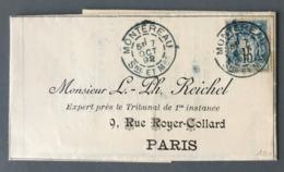 France Type Sage Sur Lettre De Montereau (cachet Bleu) Pour Paris 1892 - (B3087) - 1877-1920: Semi Modern Period