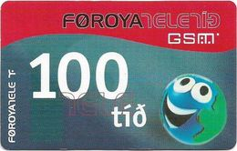 Faroe - Smiling Face, 100Kr. GSM Refill, Exp. 01.04.2006, Used - Faroe Islands