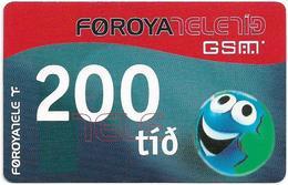 Faroe - Smiling Face, 200Kr. GSM Refill, Exp. 01.06.2005, Used - Faroe Islands
