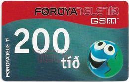 Faroe - Smiling Face, 200Kr. GSM Refill, Exp. 01.11.2005, Used - Faroe Islands