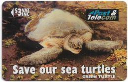 Fiji - Tel. Fiji - Save Our Sea Turtles - Green Turtle Vonu Dina - 17FJB (Normal 0), 1996, 3$, 54.700ex, Used - Fiji