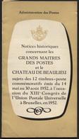 Série UPU 880/891 Notices Historiques Sur Les Grands Maîtres Des Postes, 16p - Bélgica
