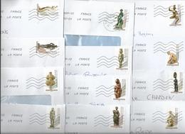 """Série Complète De 12 Timbres Auto-adhésifs Sur Enveloppes """"Le Nu Dans L'art"""" - - France"""