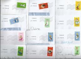 """Série Complète De 12 Timbres Auto-adhésifs Sur Enveloppes """"Astérix - Tous Irréductibles"""" - - France"""