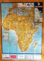 1956 Air France Route Maps Itineraires Africa Dunlop Advertising Poster Size - Posters