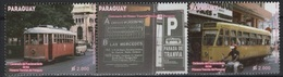 Paraguay (2013) Yv. 3124/25 + Label  /  Train - Trains - Railways - Tramways - Motorbikes - Eisenbahn - Trams - Treni