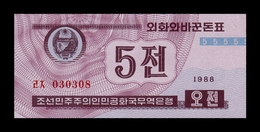 Corea Korea 5 Chon 1988 Pick 24(2) Red Serial SC UNC - Corea Del Nord