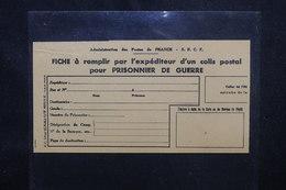 FRANCE - Formulaire De Colis Postal Pour Prisonnier De Guerre Non Utilisé - L 53089 - Guerre De 1939-45
