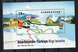 AZERBAIDJAN - B/F - M/S - 2017 - EMISSION COMMUNE - JOINT ISSUE - TURKEY - TURQUIE - CHEMIN DE FER - RAILWAY LINE - - Azerbaïdjan
