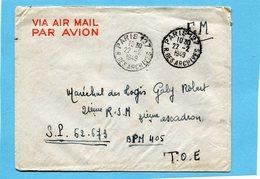 Marcophilie-lettre   Françe-F M-cad Paris 127 1949-pour T O E- SP 62673 BPM 405 - Guerra D'Algeria
