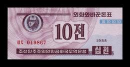Corea Korea 10 Chon 1988 Pick 25(2) Red Serial SC UNC - Corea Del Nord