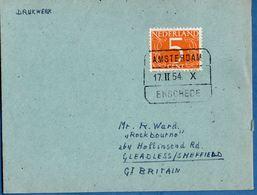 Netherlands 1954 Spoor Blokstempel Amsterdam-Enschede 17.II.54 X Naar Groot Britannie 2006.1321 - Storia Postale