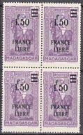 Madagascar   BLOC De 4  FRANCE LIBRE  1f50 Sur 1f60  Violet    Y.et.T. Num 261   Neuf      Scan   Recto Verso - Madagascar (1889-1960)