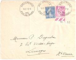 AIGUEPERSE Puy De Dôme Lettre 10c Semeuse Bleu 40c Paix Yv 279 281 Coin Daté 16 1 33 Ob 1934 Horoplan Lautier A5 - France