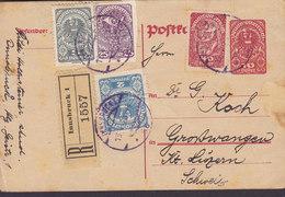Austria Uprated Postal Stationery Ganzsache Entier Registered Einschreiben Label WIEN 1920 GROSSWANGEN (Arr.) Schweiz - Entiers Postaux