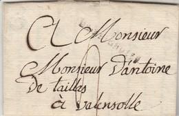 Lettre  Marque Postale DE BRIGNOLES Var 12/9/1787 à Valensole Basses Alpes - Marcofilie (Brieven)