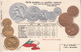MONNAIE  CHILI   CARTE GAUFRÉE - Coins (pictures)
