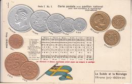 MONNAIE  SUEDE Et NORVÈGE   CARTE GAUFRÉE - Coins (pictures)