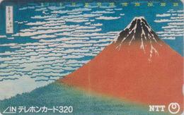 TC JAPON / NTT 290-140 - Peinture 320 U - MONT FUJI TBE - Mountain Painting JAPAN Phonecard - Volcanes