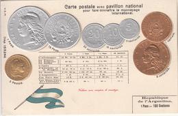 MONNAIE  RÉPUBLIQUE D'ARGENTINE    CARTE GAUFRÉE - Coins (pictures)
