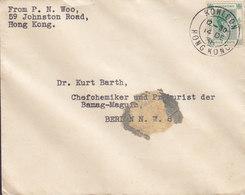 Hong Kong 'Petite' KOWLOON 1938 Cover Brief BERLIN Germany 5c. GVI. Stamp - Hong Kong (...-1997)