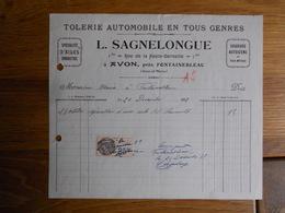 FACTURE AVON FONTAINEBLEAU SAGNELONGUE TOLERIE AUTOMOBILE 1 BIS RUE DE LA HAUTE BERCELLE - France