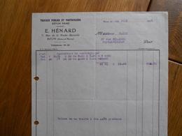 FACTURE AVON FONTAINEBLEAU HENARD 7 RUE DE LA HAUTE BERCELLE TRAVAUX PUBLICS ET PARTICULIERS 1935 - France