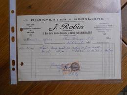 FACTURE AVON FONTAINEBLEAU ROBIN CHARPENTE ESCALIERS 3 RUE DE LA HAUTE BERCELLE 1933 - France