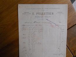 FACTURE AVON FONTAINEBLEAU PELLETIER MARECHAL FERRANT 29 AVENUE DU CHEMIN DE FER  1899 - France