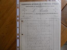 FACTURE AVON FONTAINEBLEAU BALU 4 RUE BERNARD PALISSY CARROSSERIE AUTOMOBILE  VOITURES ATTELEES 1935 - France