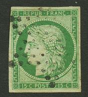 15c CERES (n°2) Obl. Etoile. Cote 1100€. Signé SCHELLER. TB. - Francia
