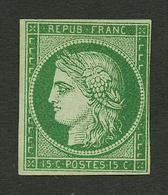 15c CERES VERT FONCE (n°2b) Neuf Sans Gomme. Cote 12 000€. Signé BRUN + Certificat CALVES (1983). TB. - Francia