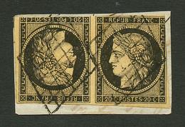 Paire 20c (n°3) TÊTE-BÊCHE Touchée Obl. Sur Fragment. RARE. Cote 10 500€. Signé CALVES. TB. - Francia