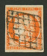 40c CERES (n°5) TTB Margé Obl. Grille (complète). Cote 500€. Signé SCHELLER. TTB. - Francia