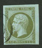 1c Empire (n°11) Coin De Feuille Obl. Signé Scheller. Superbe. - Francia